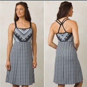 Prana Cora Strappy Dress M Built in Bra Black Gray